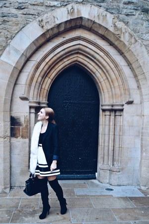 faith boots - black Bershka blazer - Miss Selfridge scarf - hm top - poema skirt
