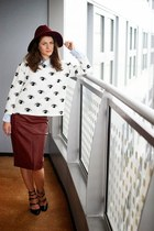 Sheinside sweater - Combo hat - Sheinside skirt - Miu Miu sandals