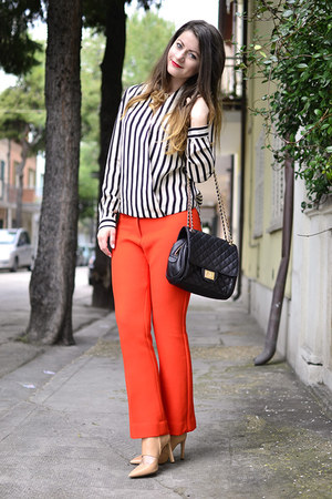 Sheinside blouse - joseph shoes - Marc B bag - Prada pants