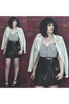 white embellished Topshop top - ivory fierce Topshop jacket