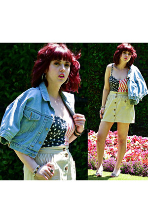 navy usa flag Primark top - sky blue 80s vintage from Ebay jacket