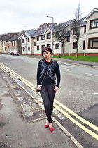 black denim Ebay jeans - black sequined Religion jumper - red spiked Ebay heels