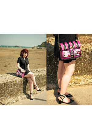 bubble gum lingerie vendula bag - black lace up Boohoo dress