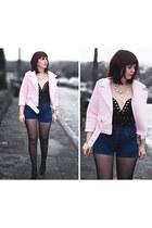 black Pretty Little Thing dress - light pink biker Boohoo jacket