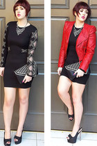 red red leather Primark jacket - black embellished River Island dress
