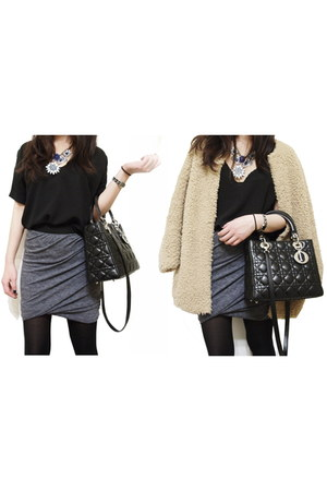 wilfred coat - christian dior bag - wilfred blouse - Helmut Lang skirt