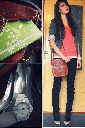 blue Stradivarius jeans - red joe fresh style sweater - beige H&M top - brown vi