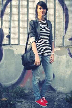 white TBOE dress - blue H&M jeans - gray random brand blazer - black vintage pur