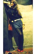 blue whistles skirt - white joe fresh style shirt - black H&M sweater - brown vi