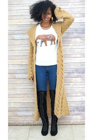 Nine West boots - Forever 21 jeans - light brown Nordstrom sweater