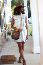 Forever 21 bag - Forever 21 dress - straw cowboy Walmart hat
