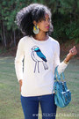 Bird-print-old-navy-sweater-forever-21-jeans-dsw-heels