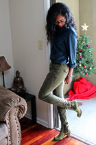 navy JCrew shirt - army green cargo skinny Old Navy pants