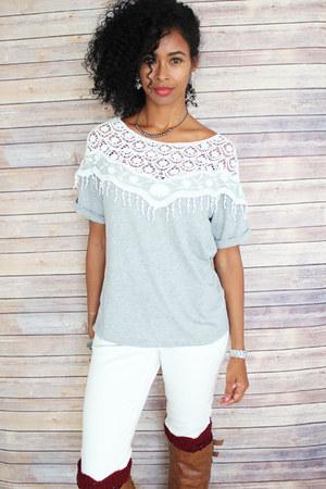 white Old Navy jeans - crochet detail Ebay top