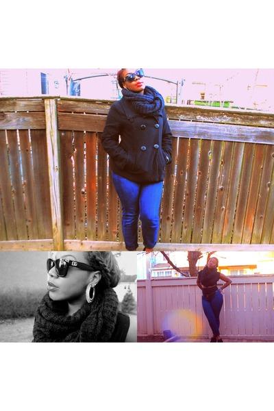 black D&G sunglasses - cut out dress dress - scarf - wedges