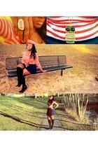 black socks - gold necklace - navy skirt - carrot orange top - salmon ring