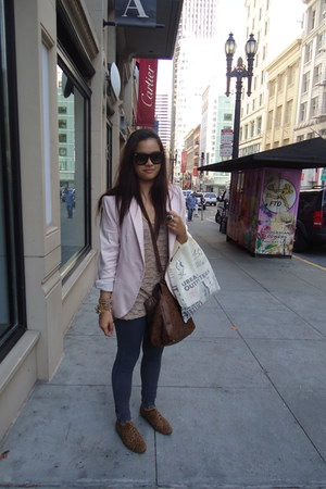 light pink Zara blazer - nude Urban Outfitters top - dark brown shoes - dark bro