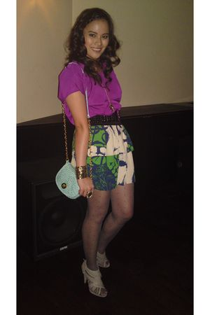 purple Urban Outfitters blouse - green Urban Renewal skirt - black Forever 21 be