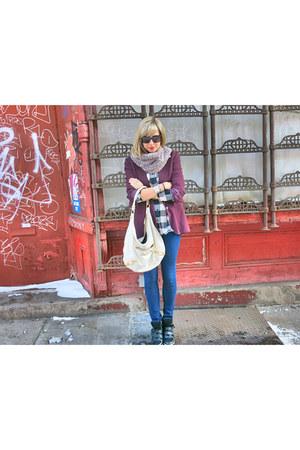 maroon Babaton blazer - black Max Mara coat - blue Forever 21 jeans