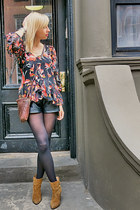 ruby red Diane Von Furstenberg blouse - brown Madison Harding boots