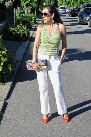 purple handmade bag - white H&M jeans - carrot orange Sergio Rossi heels
