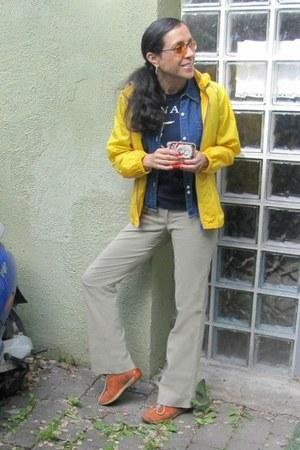 yellow Converse jacket - navy denim shirt Guess shirt - dark khaki H&M pants