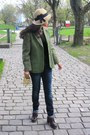 Navy-js-jeans-tan-thrifted-vintage-hat-olive-green-burberry-jacket