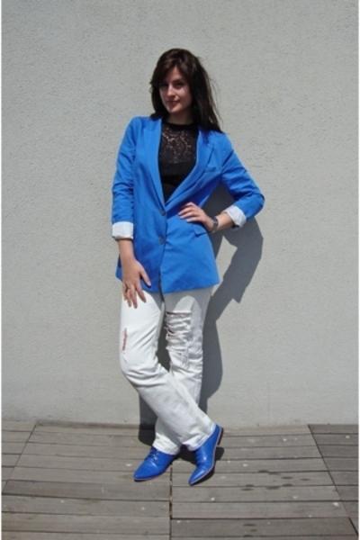 Zara blazer - Grandmothers blouse - Levis 501 jeans - Local shop shoes