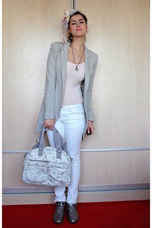 white Massimo Dutti jeans - gray Reebok shoes - silver Zara blazer