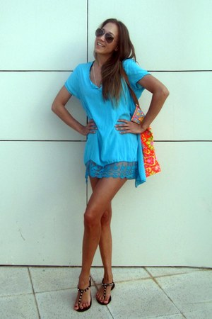 from Las Dalias Hippie Market Ibiza dress - leather gioseppo sandals