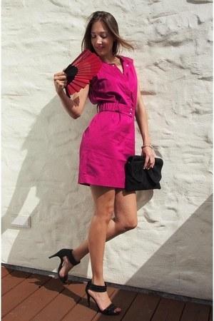 black suede leather Mango bag - hot pink cotton SANDRO dress