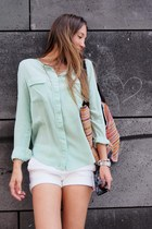 silk Equipment blouse - bali handmade bag - H&M shorts