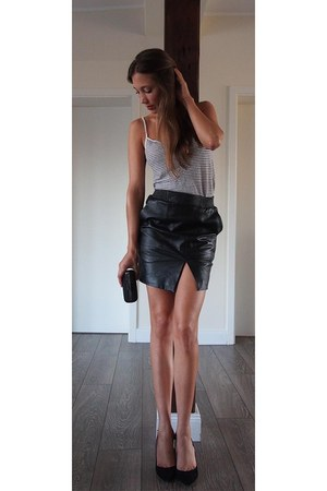 leather Selected Femme skirt - cotton-linen Zara top