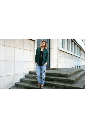 sky blue velur none blouse - dark green fake none shoes - denim Terranova jeans