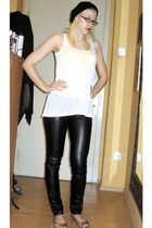 black hat - black D&G glasses - white H&M top - black Tally Weijl pants - beige