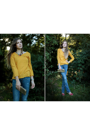 flared jeans H&M jeans - yellow Zara shirt - gold clutch vintage bag
