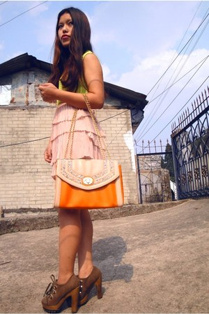 vest - neon vest - shoes - bag - bracelet - Fluffy skirt
