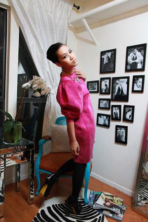 pink lanvin dress - black aa tights - black YSL shoes