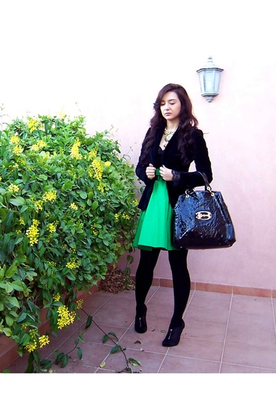 black velvet Zara blazer - black leather braccialini bag - teal flowy Reiss skir