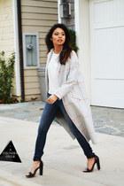 heather gray asos coat - light blue asos bag - black nastygal heels