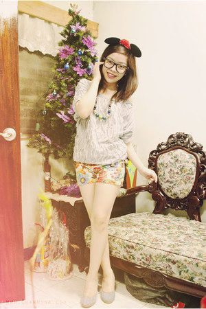 floral divisoria shorts - ruffled divisoria top - denim Mattewo heels