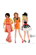 orange dress - bubble gum pants - black top - white skirt - gold cape