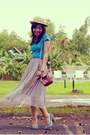 Tan-straw-hat-pink-bag-sky-blue-denim-mattewo-heels