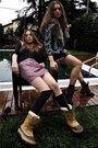 Harley-davidson-boots-dont-even-know-stockings-vintage-dress-topshop-jacke