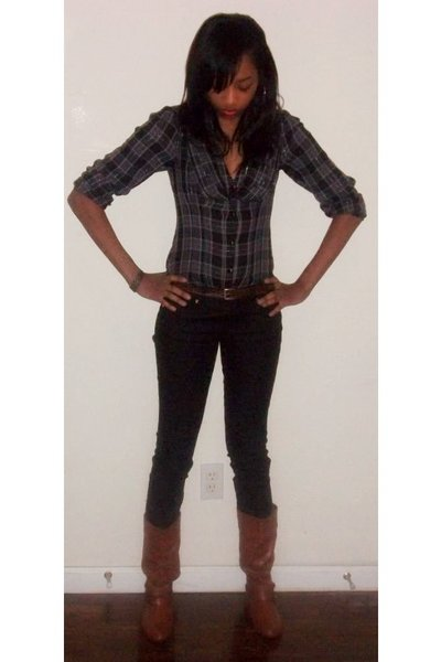 gray express shirts black forever21 brown boots