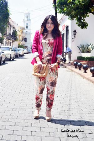 hot pink Stradivarius blazer - nude Mango bag - floral print Bershka jumper