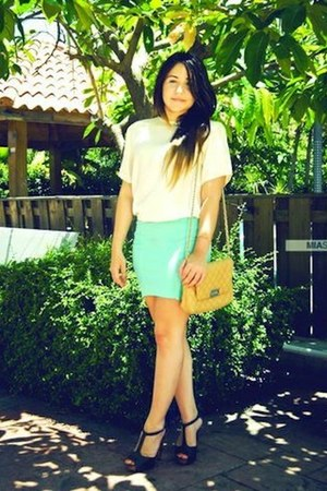 Qupid heels - Mango bag - Bershka skirt - vintage blouse