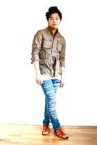 beige Zara jacket - white American Apparel t-shirt - blue Cheap Monday jeans - b