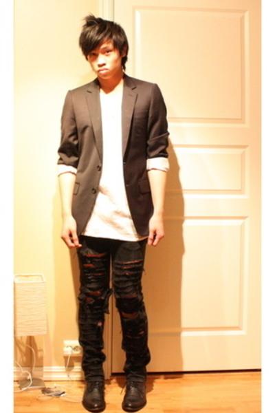 gianfranco ferre blazer - acne jeans - American Apparel t-shirt - asos shoes