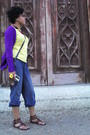 Yellow-geft-blouse-purple-zara-sweater-blue-jeans-necklace-brown-purse-
